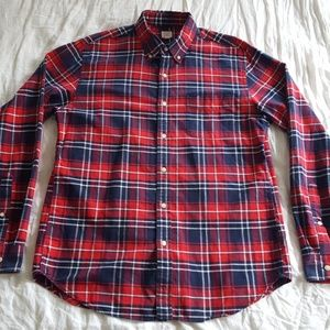 J. Crew Vintage Oxford Red Blue Plaid Shirt Medium